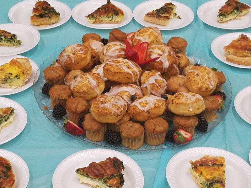Assorted Breakfast Quiches & Pastries Display