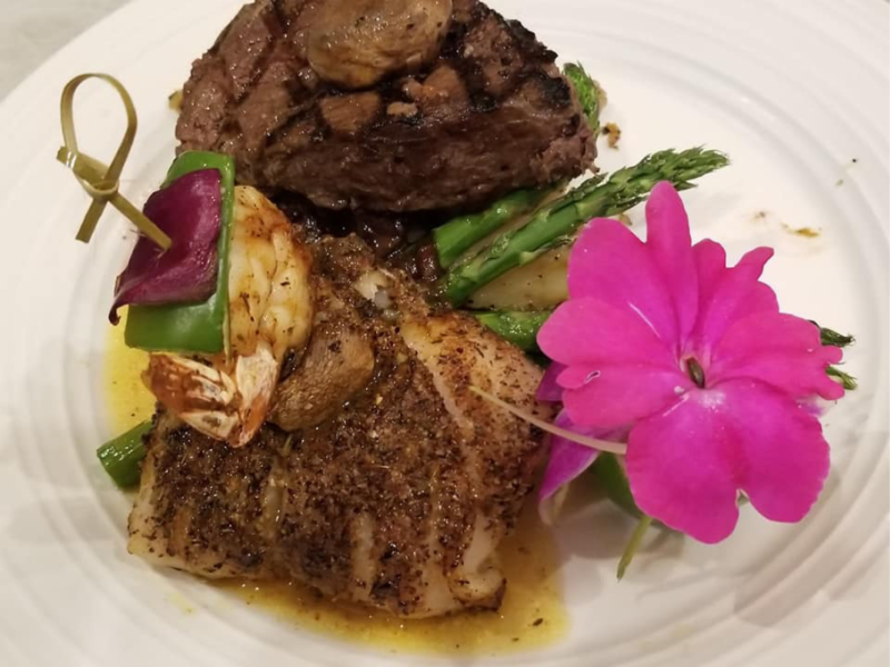Blackened Grouper and Filet Mignon